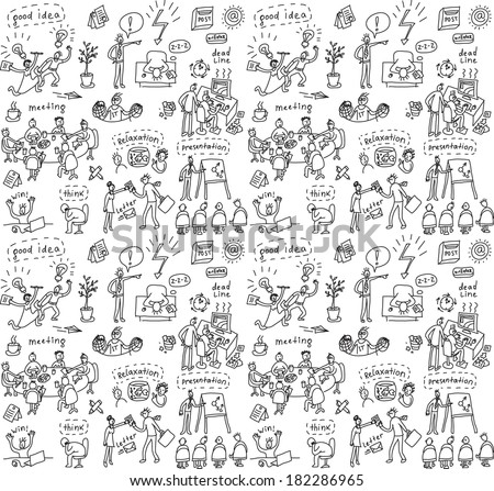 People in office seamless pattern Big group of unrecognizable business people working and creating in the office. Seamless pattern. Black and white doodles vector illustration. - stock vector
