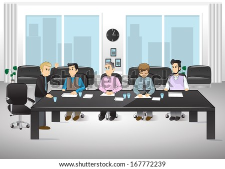 People In Office - Vector Illustration, Graphic Design Editable For Your Design. Team Working In Office.Successful Business Partners Discussing Ideas At Meeting. Caucasian People. Coworking Space - stock vector