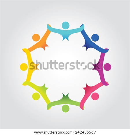 people in social community celebrating success,togetherness - stock vector