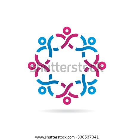 People In Strong Network Icon Logo Template - stock vector