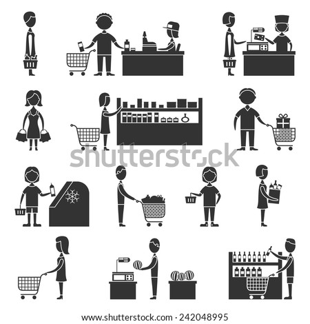 People in supermarket grocery store customers black icons set vector illustration - stock vector