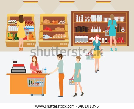 People in supermarket grocery store with shopping baskets for  line up to pay for shopping isolated vector illustration. - stock vector