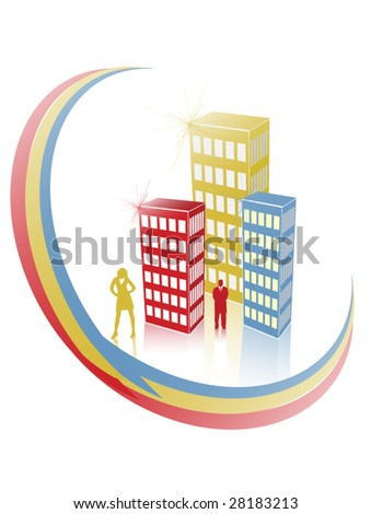 People in the City - stock vector