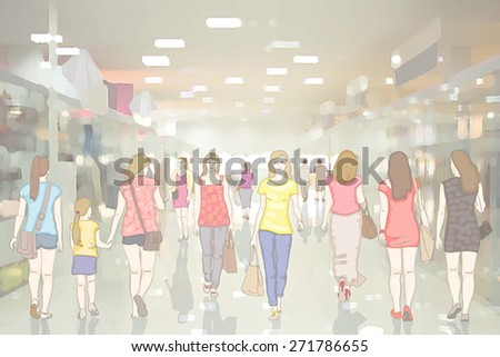 People in the interior of modern department store with glass pavilions and mirror floor. Walking and shopping - stock vector