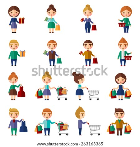 People in the store.  Vector set. - stock vector