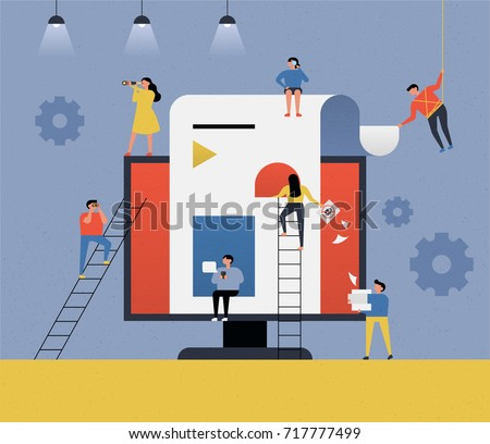 People in the web business industry vector concept illustration flat design