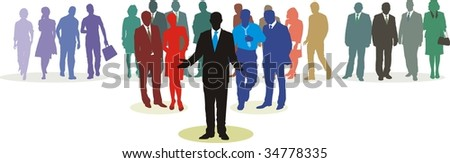 People in three line silhouette, color isolated vector - stock vector