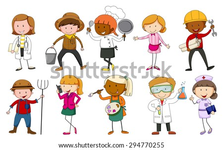 People in uniform indicating their occupations - stock vector