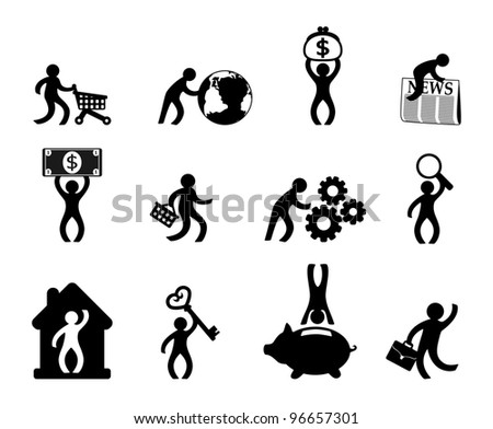 People in various situations - stock vector