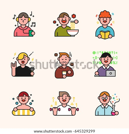 People in various situations line character vector illustration flat design
