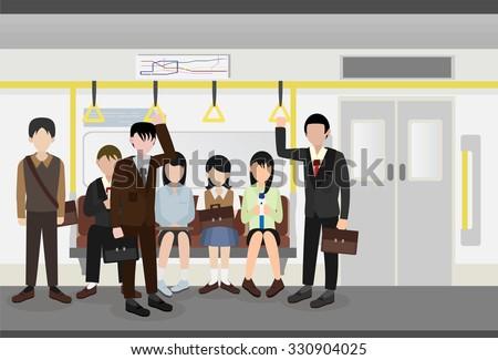 people inside a metro subway train vector - stock vector