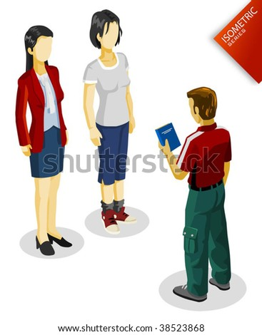 People Isometric. Isometric Series. Compose Your Own World Easily with Isometric Works. - stock vector