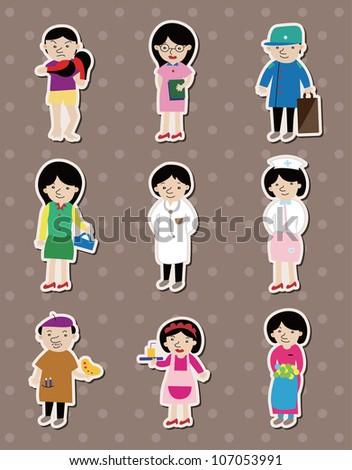 people job stickers - stock vector