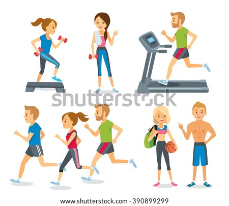 people jogging and working out in the fitness club - stock vector