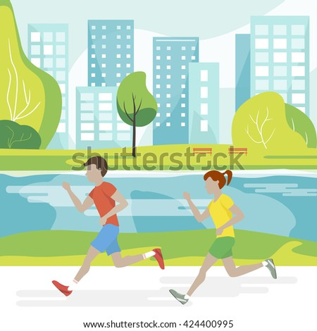 People jogging in the park. Couple man and woman running. Marathon runners. Runners in the city park. Vector illustration - stock vector