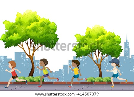 People jogging in the park illustration - stock vector