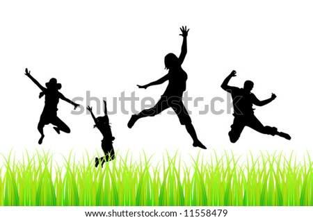 People jump - stock vector