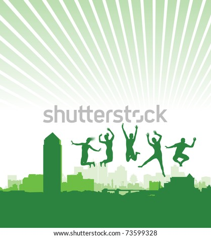 people jumping on a cityscape