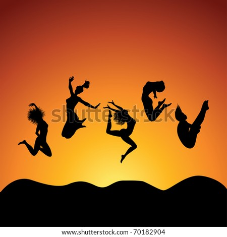 people jumping over the sky, vector - stock vector