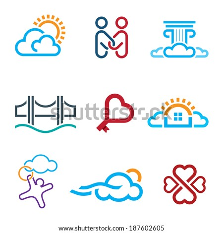 People know no limits in creativity creation app logo icon set - stock vector