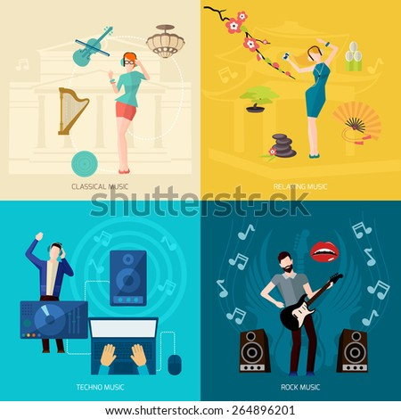 People listening music design concept set with classical relaxing techno rock flat icons isolated vector illustration - stock vector