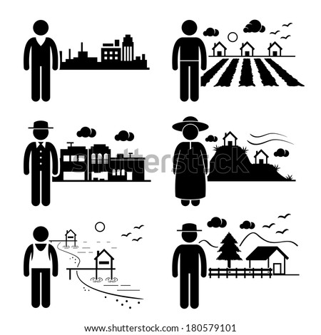 People Living in City Cottage House Small Town Highlands Seaside Village Home Stick Figure Pictogram Icon - stock vector