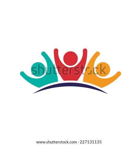 People logo group. Concept of teamwork, people group and friendship. Vector design icon - stock vector