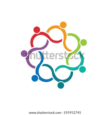 People logo Teamwork Wave Group of 7 relationship and collaboration  - stock vector