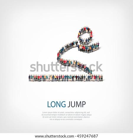 People Long Jump Vector Stock Vector 459247687 Shutterstock