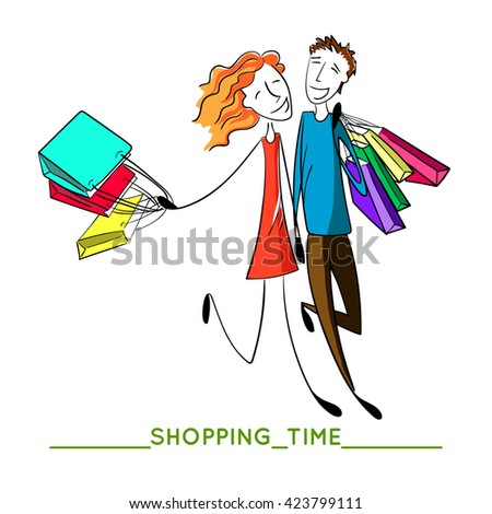 people love shopping together. Hand drawn happy couple with bags. Boyfriend and girlfriend are buying. Vector illustration - stock vector