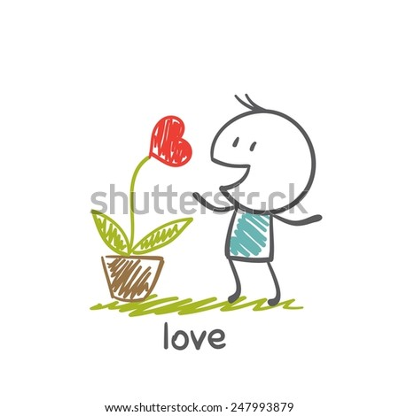 people love to grow plants with heart illustration - stock vector