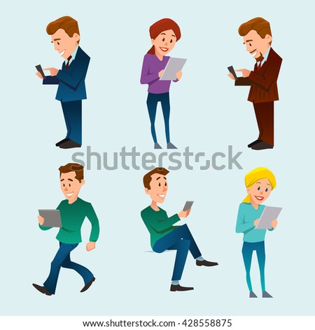 people, man and woman, using gadget, smartphone, mobile phone, tablet pc, communication concept, internet connection, cartoon character, vector illustration - stock vector