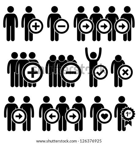People Man Business Human Resource Stick Figure Pictogram Icon - stock vector