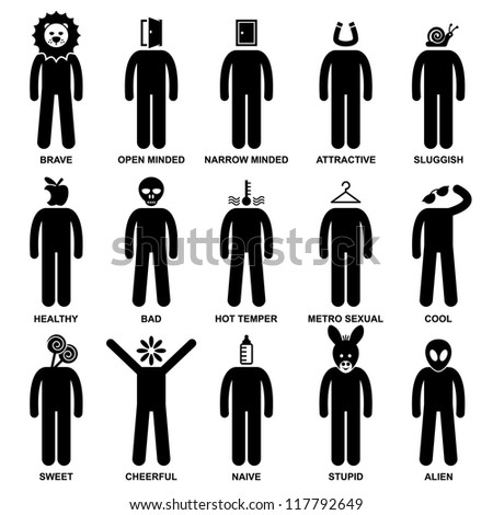 People Man Characteristic Behaviour Mind Attitude Identity Personalities Stick Figure Pictogram Icon - stock vector