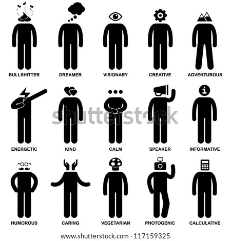 People Man Characteristic Behaviour Mind Attitude Identity Stick Figure Pictogram Icon - stock vector
