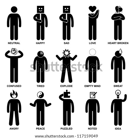 People Man Emotion Feeling Expression Attitude Stick Figure Pictogram Icon - stock vector