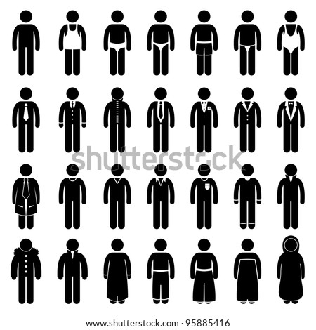 People Man Male Fashion Wear Clothing Icon Symbol Sign Pictogram - stock vector