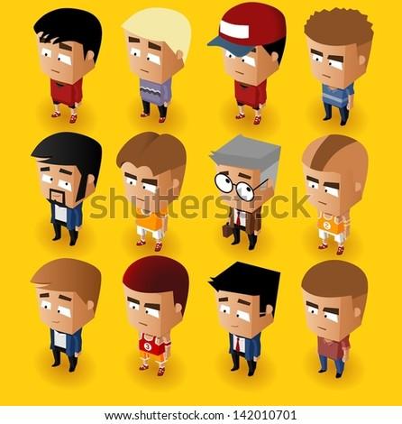 People Men Isometric Set. Vector Illustrator - stock vector