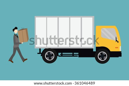 people moving bring box into truck container - stock vector