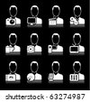 people multimedia icons on black - stock vector