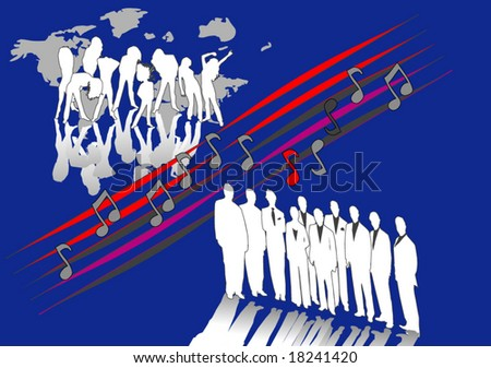 People music and map - stock vector