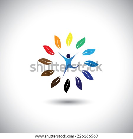 people & nature balance circle - eco lifestyle concept vector icon. This graphic also represents harmony, nature conservation, sustainable development, natural balance, development, healthy growth - stock vector
