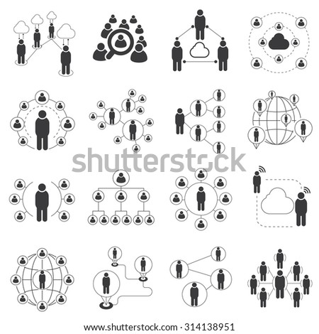people network icons, connecting people set, communication network icons set - stock vector