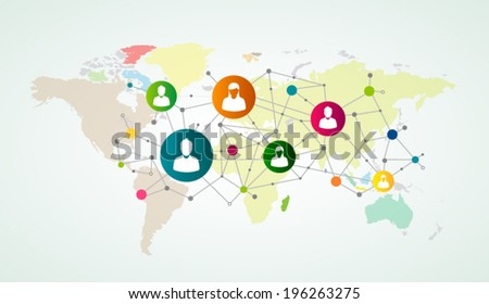 people network on world map - stock vector