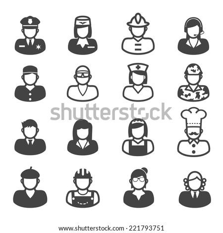 people occupation icons, mono vector symbols - stock vector