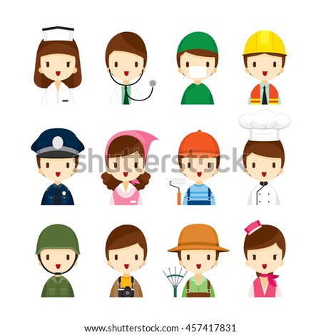 People Occupations Icons Set, Profession, Avatar, Worker, Job, Duty - stock vector