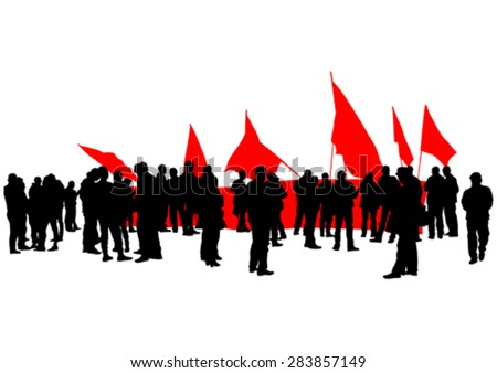 People of anarchia with large flags on white background - stock vector