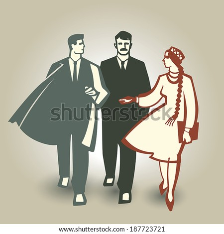 People of different genders and ethnicity discussing plans to build a brighter future - stock vector