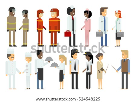 People of different professions. Set. Material design vector