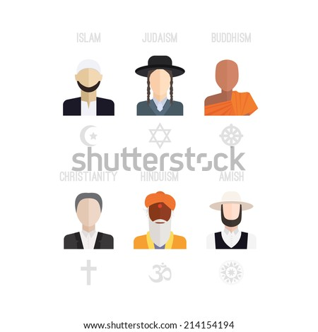 People Different Religion Traditional Clothing Islam Stock Vector